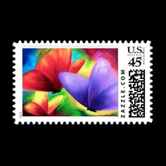 Twenty Percent OFF ALL ORDERS!!! Check details. Colorful Butterfly Painting Postage Stamps