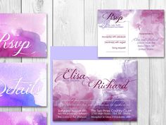 Printable Watercolor wedding invitation set. * Printing service available *