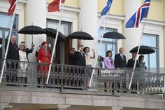 (L-R) King Harald V of Norway, Queen Sonja of Norway, Queen Margrethe II of Denmark, Finnish President Sauli Niinisto, his wife Jenni Haukio, Icelandic First Lady Eliza Reid, the President of Iceland Gudni Johannesson, King Carl XVI Gustaf of Sweden and Queen Silvia of Sweden greet the crowds from the balcony of the Presidential castle during the visit of the Nordic heads of state in Helsinki on June 1, 2017.Nordic heads of state are visiting Finland to celebrate the centenary of Finland's…