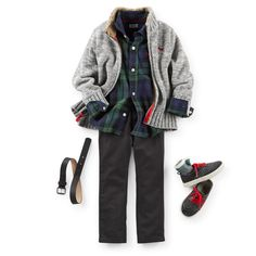 Marbled yarns make this sweater holiday ready. Warm up this look with a plaid flannel and crisp twill pants. Wingtip-look sneakers keep it polished yet comfy. Boys Summer Outfits, Little Boy Outfits, Toddler Boy Outfits, Toddler Boys, Kids Outfits, Carters Kids Clothes, Action Figure Store, Handsome Kids, Carter Kids