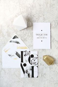 How modernly chic is this black and white wedding invitation design from Livia Paul Paper? We especially love the envelope liner! Via Grey Likes Weddings