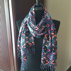 Beautiful Tribal Scarf Multicolored fringed scarf Accessories Scarves & Wraps