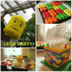 Lego Birthday Party:  we actually made these lego cookies a couple of years ago: sugar cookies with upside down MM's on top; they were so cute; I love the utensil holder idea: the boys could definitely make one of those super quick.