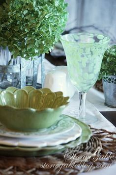 Summer is sizzling away, here at StoneGable! So let's move inside for an easy summer meal.  And let's keep it simple… right down to the tablescape! The Annabelle hydrangeas that kiss the front porch all summer long have turned color early this year! When they change from white to green it is my cue that …