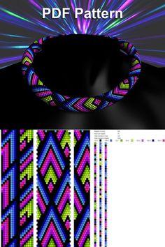 Bead crochet pattern seed bead bracelet tutorial pdf beading master Class jewelry make necklace Crochet Rope PDF tutorial geometric zigzag Crochet Bracelet Pattern, Crochet Beaded Bracelets, Beaded Necklace Patterns, Bead Crochet Patterns, Beading Patterns Free, Bead Crochet Rope, Weaving Patterns, Crochet Necklace, Art Patterns
