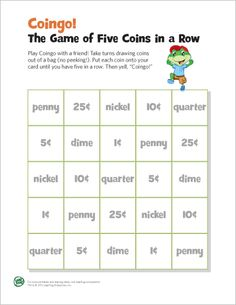LeapFrog printable: Coingo! The Game of 5 Coins in a Row