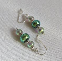 Dichroic Glass Earrings with Sterling Silver by Smokeylady54