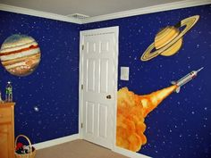 Solar system bedroom mural- my son has a wall like this in his bedroom, but on a smaller scale. this one is awesome!
