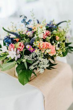 Garden style floral centerpiece with summer variety of flowers. Garden Wedding, Dream Wedding, Wedding Bouquets, Wedding Flowers, Wedding Ceremony, Wedding Venues, Aisle Flowers, Wedding Catering, Floral Centerpieces