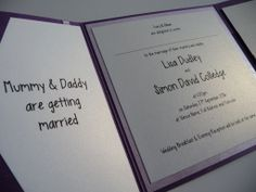 Mummy Daddy Are Getting Married Purple And Lilac Themed Wedding Invitations