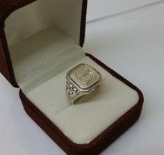 Ring Silber 835 mit Initialen EB Vintage SR718 von Schmuckbaron