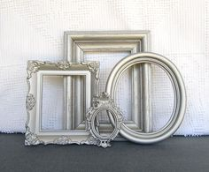 Silver Ornate Vintage Frames set of 4 Brushed Nickel Metallic Upcycled Painted OPEN frames Hollywood regency glam Paris Metallic Shiny Decor. PEW