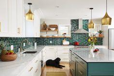 Kitchen Redo, Home Decor Kitchen, Kitchen Interior, Home Kitchens, Teal Kitchen Cabinets, Tiles For Kitchen, Patterned Kitchen Tiles, Modern Kitchen Backsplash, Kitchen Tiles Design