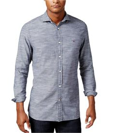 f8cf5ce6b8387 Tommy Hilfiger Mens Slub Button Up Shirt 409 XL   Click on the image for  additional