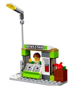 LEGO City News Stand / Kiosk, with Minifig and newspapers!, split from 60154 NEW | eBay