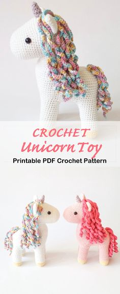 crochet amigurumi unicorn pattern - stuffed unicorn toy - amigurumi pattern - A Crafty Life Looking for cute Crochet Amigurumi Unicorn Patterns? Try any of these adorable stuffed unicorn toy crochet patterns, they would make a great gift. Doll Amigurumi Free Pattern, Crochet Pattern Free, Crochet Toys Patterns, Crochet Patterns Amigurumi, Crochet Dolls, Amigurumi Toys, Crochet Baby Toys, Softie Pattern, Crocheted Toys