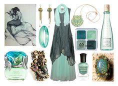 """""""Mermaid Witch"""" by maggiehemlock ❤ liked on Polyvore featuring Rosita Bonita, Deborah Lippmann, Sweet Romance, Benefit, Pearlz Ocean, Van Cleef & Arpels and LUCKY LU"""