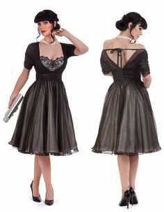 Tatyana Cafe Noir Swing Dress Classic 50s RockABilly Retro Vintage Skirt XS-4XL #ClassicMom #50smom