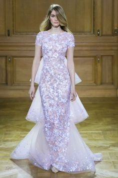 Georges Chakra | Spring 2016 Couture | 15 Purple short sleeve maxi dress with floral embellishments