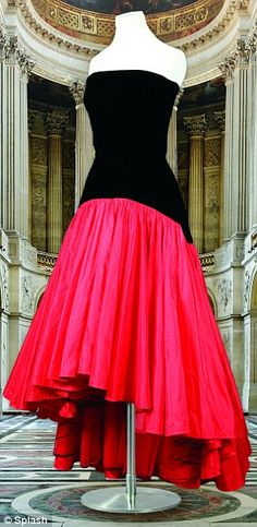 Eighties classic: Princess Diana wore this full-skirted black-and-red evening gown in July 1987