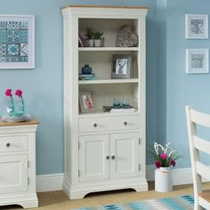 Country Cream Painted Oak 6ft Large Bookcase with Cupboard