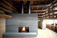 old barn conversion in soglio, switzerland by architecture firm ruinelli associati architetti Concrete Fireplace, Modern Fireplace, Fireplace Design, Fireplace Hearth, Fireplace Ideas, Detail Architecture, Interior Architecture, Interior Design, Contemporary Architecture