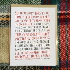 Yo dudes if you don't have kids and your year was kind of normal and you want to just say hi and send some love to people of all denominations: we have a card for that. Thanks @shopcoqui for this pic! Love the background! by emilymcdowell_