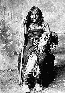 Poison, a Cheyenne woman almost 100 years old; full-length, seated, 1888.