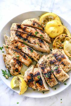 Grilled Greek Chicken Marinade Recipe   foodiecrush.com #chicken #marinade #lemon #greek