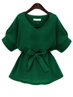 Green V Neck Self Tie Blouse Mobile Site
