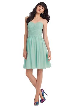 Bill Levkoff. Chiffon strapless short dress with a sweetheart neckline. Criss-cross ruched bodice. Soft gathers accent the skirt.