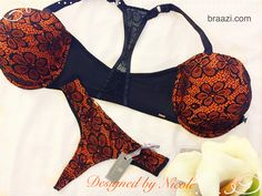 5caf9f9d4d Autumn fire in this stunning orange and black bra and thong panty set