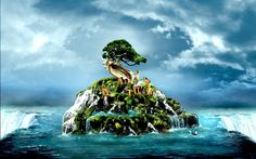 3D Nature Waterfall On Sea