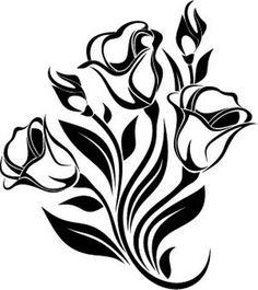 Siyah çiçek silüetleri