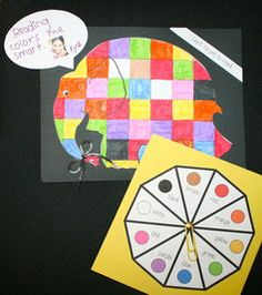 Dr. Seuss activities: FREE Horton and Elmer the elephant activity packet. This pix is a color game, which results in a writing prompt. Cute bulletin board.