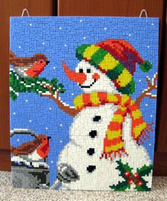 Snowman and Birdies Pearler Bead Patterns, Pearler Beads, Beading Patterns, Yoshi, Winter, Snowman, Christmas Ideas, Inspiration, Character