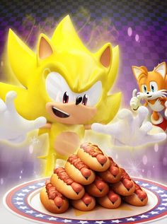 Super Sonic and chili dogs     Super Sonic- Chili dogs! Awesome! *goes to grab them* Tails- *laughs and confused*