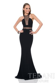 Take his breath away in this terrific evening dress from Terani 1611P0264. The unique neckline bodice has plunging illusion details and is lined only where necessary for a modern and sultry look. Shee