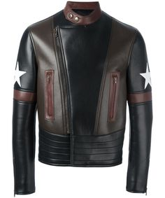 GIVENCHY Mens Givenchy Lamb Leather Moto Star Print Jacket In Black'. #givenchy #cloth #coats & jackets