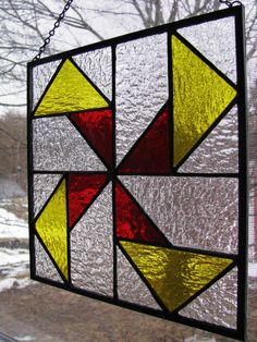 SeeSaw Quilt Pattern Stained Glass Panel by RedfordGlassStudio