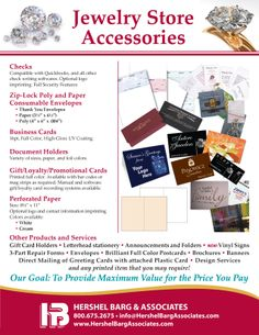 Jewelry stores across the nation have taken advantage of our excellent array of custom materials, including POS Receipts, Gift and Reward Cards, Repair Pouches, and much more. Writing Software, Document Holder, High Gloss, Jewelry Stores, Essentials, Cards, Briefcase, Playing Cards, Maps