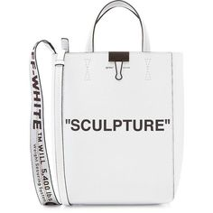 Off-White Medium Sculpture Leather Tote ($920) ❤ liked on Polyvore featuring bags, handbags, tote bags, white, leather purse, white leather tote, handbags totes, leather handbag tote and leather tote purse