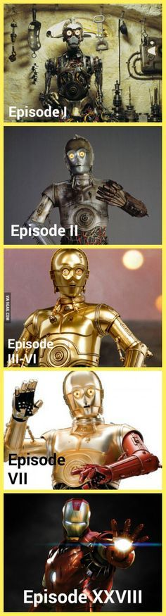"C-3PO evolution. I still don't understand why the stupid guys from Disney made C-3PO with red arm in ""The Force Awakens""!"