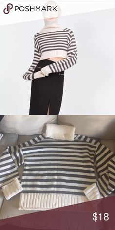 Zara gray/ivory striped sweater Brand new Zara cray/ivory striped sweater from Zara. Slightly cropped.Sleeves are longer than normal- to go for the slouchy look that's very trend right now. Size small.  Never worn. Cute sweater but I'm not a big fan of turtlenecks..    85% acrylic  15% nylon   Bust - 36 inches  Armpit to bottom - 11.5 inches Zara Sweaters Cowl & Turtlenecks