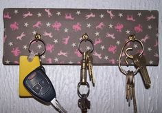 Country Girl Pink Horse Key Hanger Scarf by 1OfAKindCrafts on Etsy