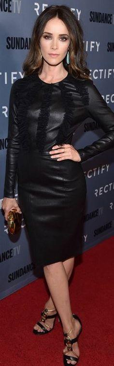 Abigail Spencer: Dress – Thomas Wylde  Shoes – Jimmy Choo  Purse – Brian Atwood  Earrings – Irene Neuwirth