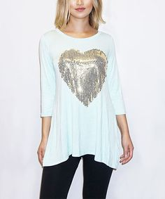 Look what I found on #zulily! Mint Sequin Heart Tunic #zulilyfinds