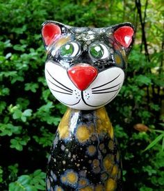 Gartenstecker Katze mit hochwertiger Effektglasur  http://stores.ebay.de/Lydia-s-Wohn-Garten-Ambiente_Garten-und-Terasse_W0QQfsubZ253412019