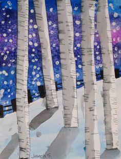 Winter birch trees. Value.