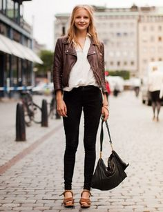 Stockholm Street Style  Favorite city, favorite casual look. Need a brown leather jacket, now.